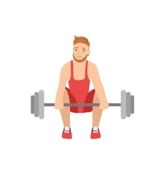 Man Doing Weight Lifting In Red Uniform vector