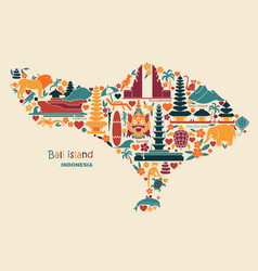Map bali islands indonesia with traditional vector
