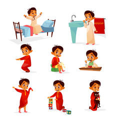 Muslim boy kid daily routine cartoon vector