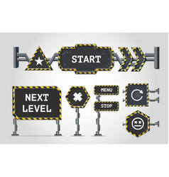 Navigation signs metal user interface elements vector