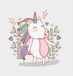 nice unicorn with branches plants and crown vector image