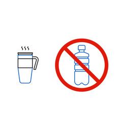 No plastic bottles only reusable thermo mug vector