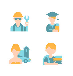 People avatars flat color icon set vector