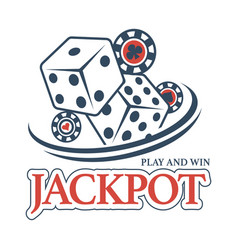 Play and win at casino jackpot promotional emblem vector