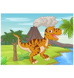 Prehistoric scene with tyrannosaurus cartoon vector image