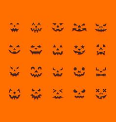 Pumpkin face simple flat color icons set vector