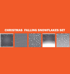 Realistic falling snowflakes set isolated on vector