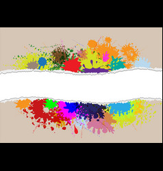 Ripped paper on splash color vector