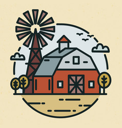 Round logotype with farmland landscape country vector