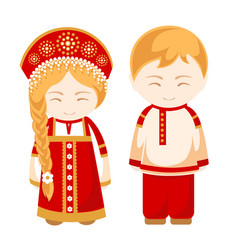 russian man and woman vector image