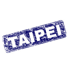 Scratched taipei framed rounded rectangle stamp vector