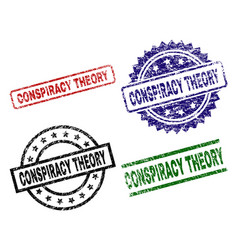 Scratched textured conspiracy theory seal stamps vector