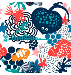 sea fish pattern vector image