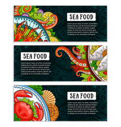 Seafood banner template set collection of vector