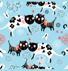 seamless graphic pattern enamored cats vector image