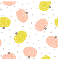 seamless pattern with colored pumpkins on white vector image