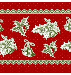 seamless vintage background with holly and bell vector image