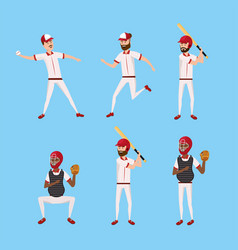 set baseball player with professional uniform and vector image