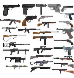 Set cartoon colored gun icons machine gun vector