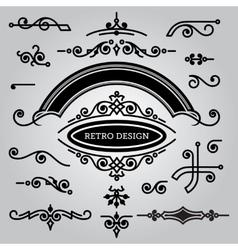 set decorative elements in vintage style vector image