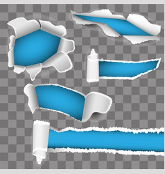 set for white paper torn hole blue inside vector image