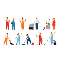 set of smiling male and female cleaning service vector image