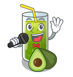 singing avocado smoothies are isolated on vector image
