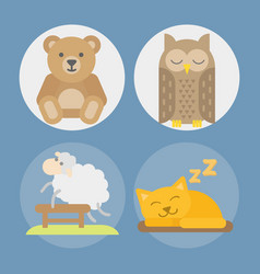Sleep animals icon gift toy vector