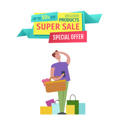 Super sale special offer man vector