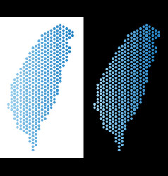 Taiwan island map hex-tile abstraction vector