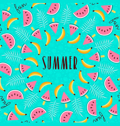 tropical summer season fruit greeting card vector image