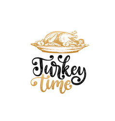 turkey time hand lettering on white background vector image