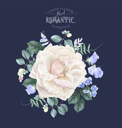 vintage floral banner with garden rose vector image