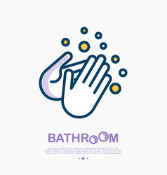 wash your hands with soap thin line icon vector image