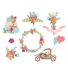 Wedding collection wreath flowersretro car vector