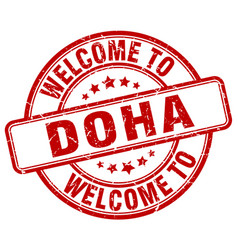 Welcome to doha red round vintage stamp vector