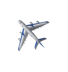 White passenger plane bottom view vector