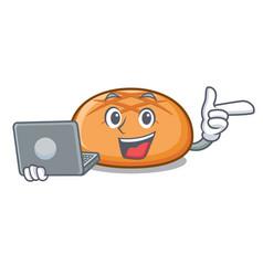 with laptop hamburger bun character cartoon vector image
