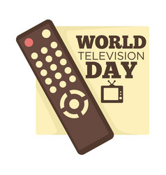 world television day remote control and tv set vector image