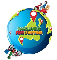 worldwide free shipping logo with bike man vector image