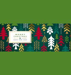Year gold folk pine tree banner vector