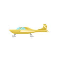 Yellow small vintage plane light aircraft vector