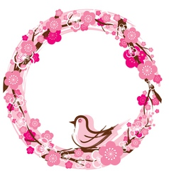 Cherry Blossoms or Sakura flowers Wreath vector image vector image