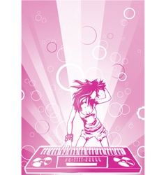 concert poster with dj girl vector image vector image