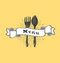 fork and spoon restaurant menu template vintage vector image vector image