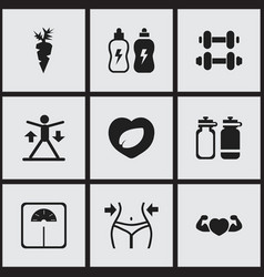 set of 9 editable training icons includes symbols vector image vector image