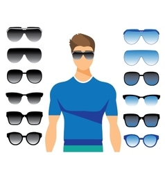 set of different glasses on white vector image vector image