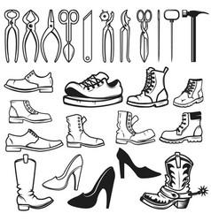 Shoe repair design elements tools for shoe repair vector