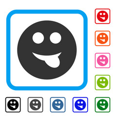 Tongue smiley framed icon vector