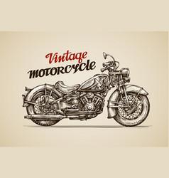 Vintage motorcycle hand drawn motorbike vector